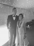 Jas and her husband in black and white