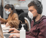 Call center agents in masks